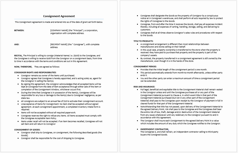 Vehicle Consignment Agreement New Consignment Agreement Template Free