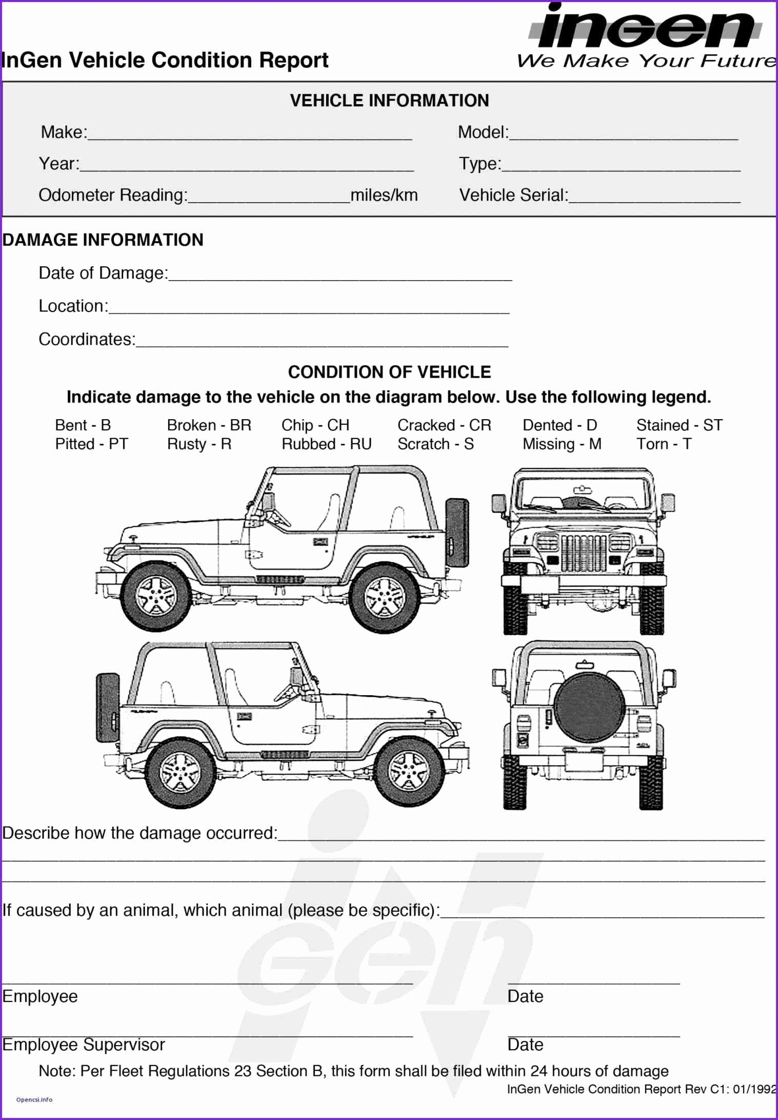 Vehicle Damage Report Template Excel Awesome Auto Vehicle Condition Report form Template Estimate