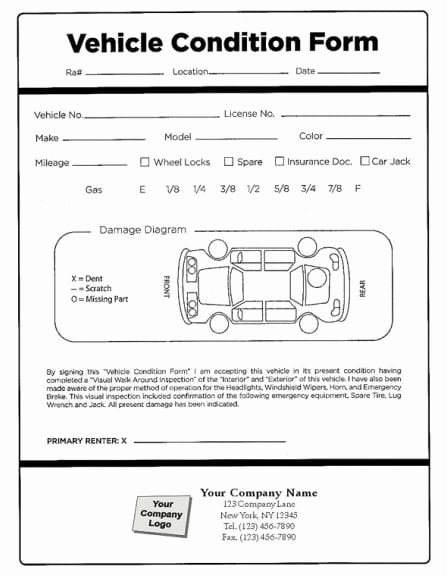Vehicle Damage Report Template Excel Beautiful Vehicle Condition Report Templates