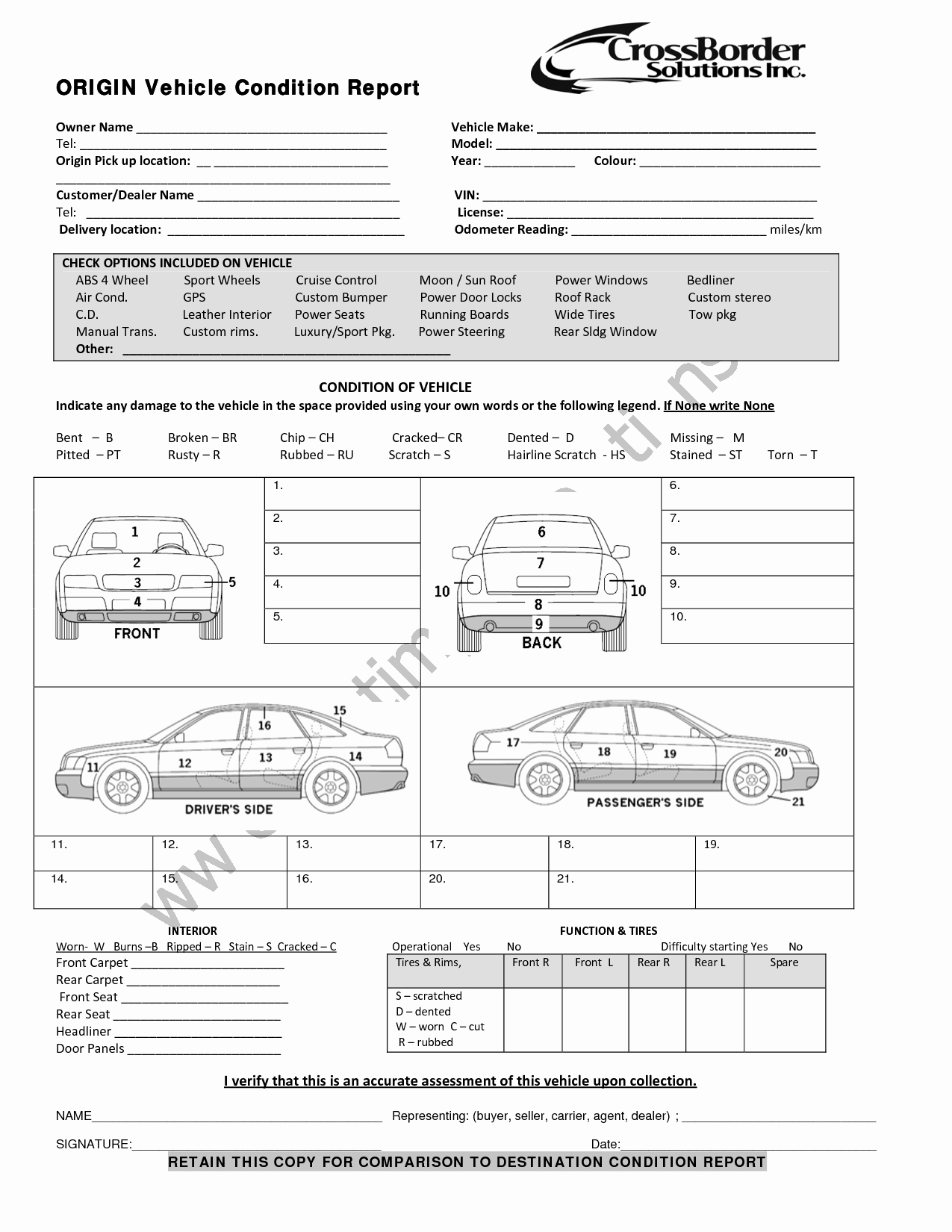 Vehicle Damage Report Template Excel Lovely Vehicle Condition Report Templates Word Excel Samples