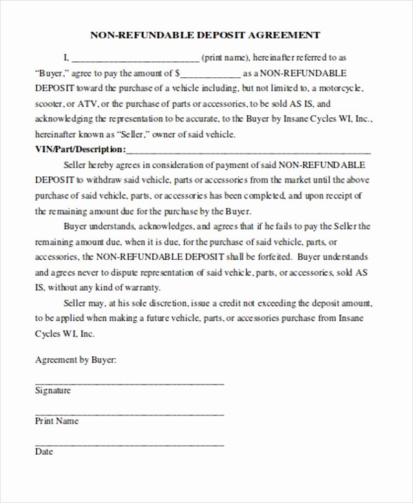 Vehicle Deposit Agreement Best Of 8 Payment Contract Templates Sample Example format