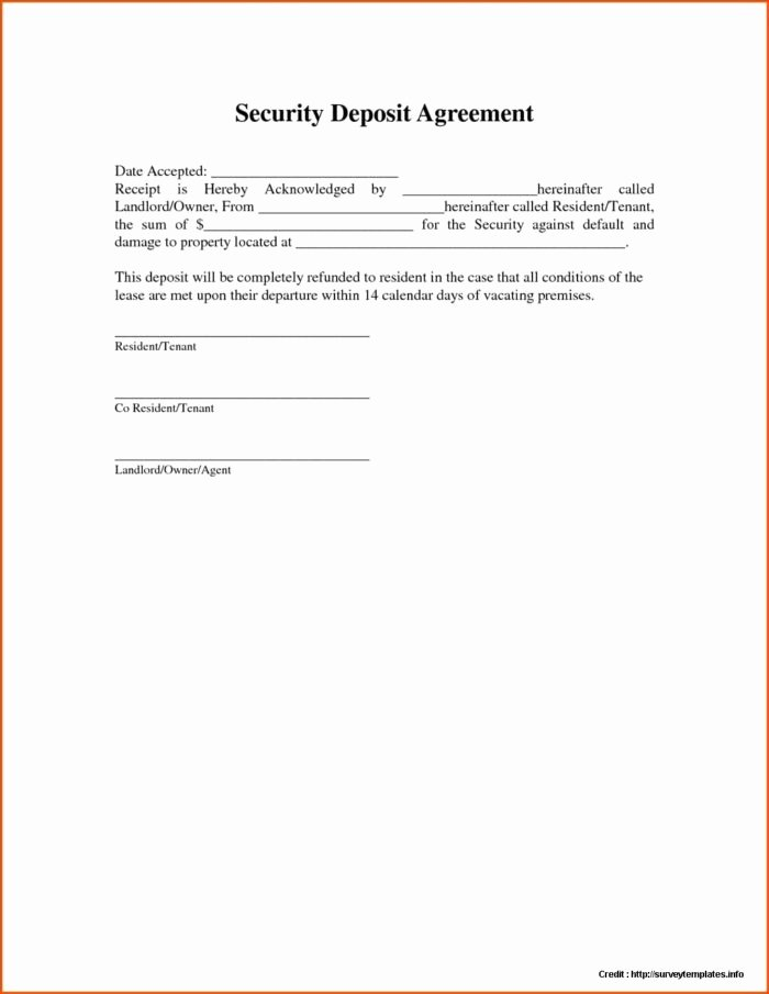 Vehicle Deposit Agreement Lovely Security Deposit Payment Agreement form form Resume