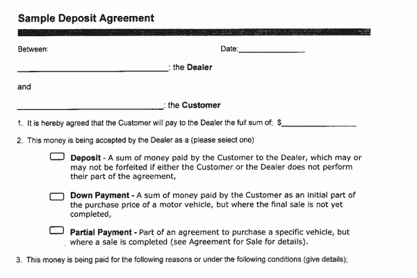 Vehicle Deposit Agreement New Sample Documents the Motor Vehicle Sales Authority Of Bc