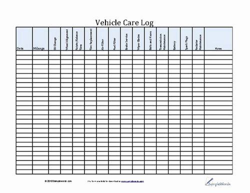 Vehicle Maintenance Checklist Excel Best Of Vehicle Care Log Printable Pdf form for Car Maintenance