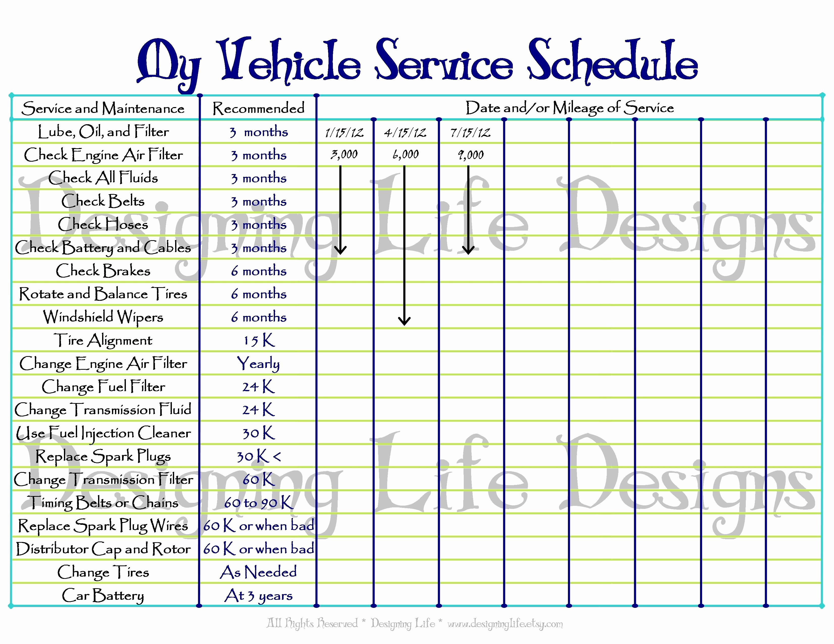 Vehicle Maintenance Checklist Excel Elegant Printable Vehicle Maintenance Log Template