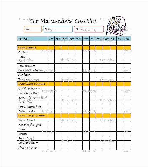 Vehicle Maintenance Checklist Excel Inspirational 28 Maintenance Checklist Templates Pdf Doc