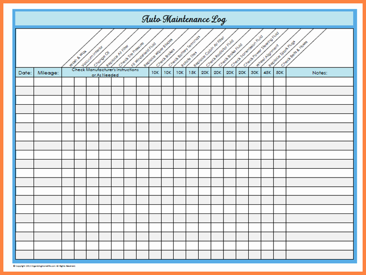Vehicle Maintenance Spreadsheet Fresh Basic Car Maintenance Schedule