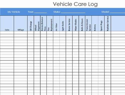 Vehicle Maintenance Spreadsheet Fresh Vehicle Maintenance and Service Log Pdf Template