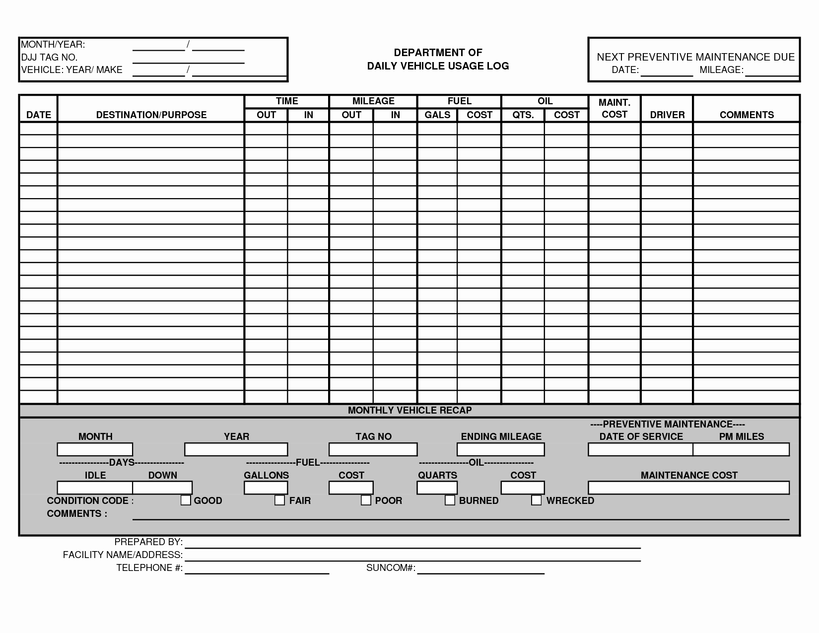 Vehicle Maintenance Spreadsheet Inspirational Vehicle Maintenance Log Template Excel Ewolf