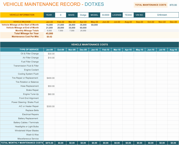 Vehicle Maintenance Spreadsheet Lovely Vehicle Maintenance Log Template for Excel Monthly Dotxes