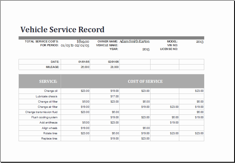 Vehicle Maintenance Spreadsheet Luxury Ms Excel Vehicle Service Record Log Template