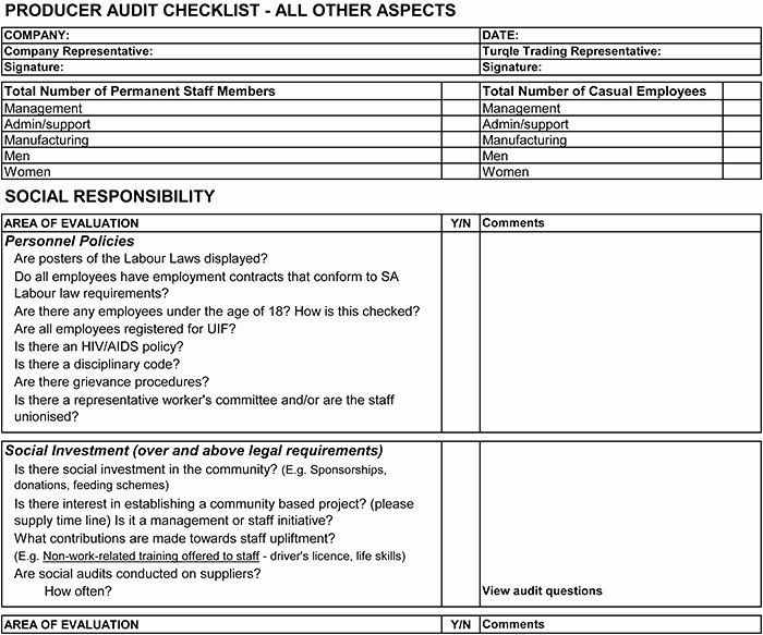 Vendor Audit Checklist Template Lovely Supplier Audit Checklist Template Vendor is On Make the
