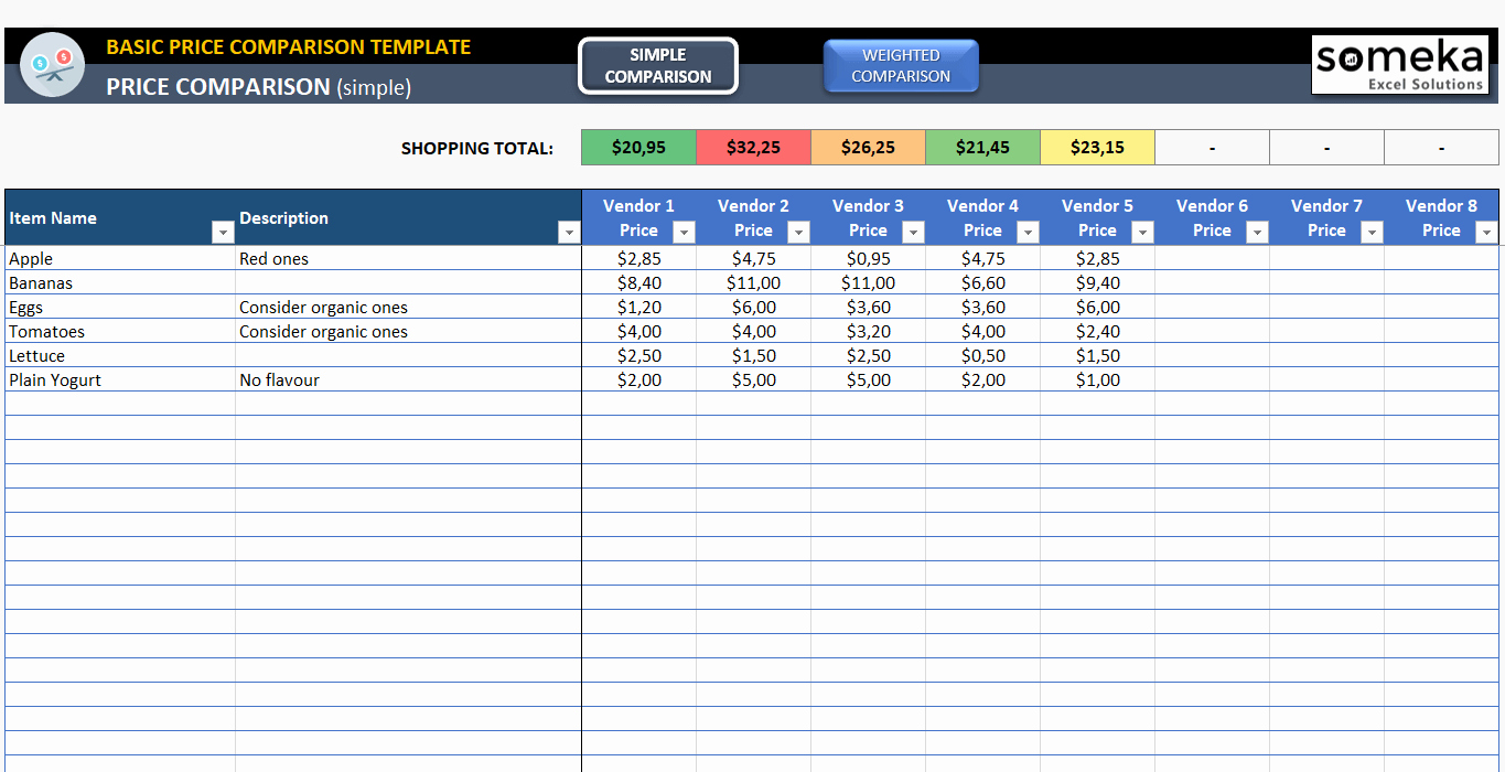 Vendor Comparison Template Awesome Basic Price Parison Template for Excel Free Download