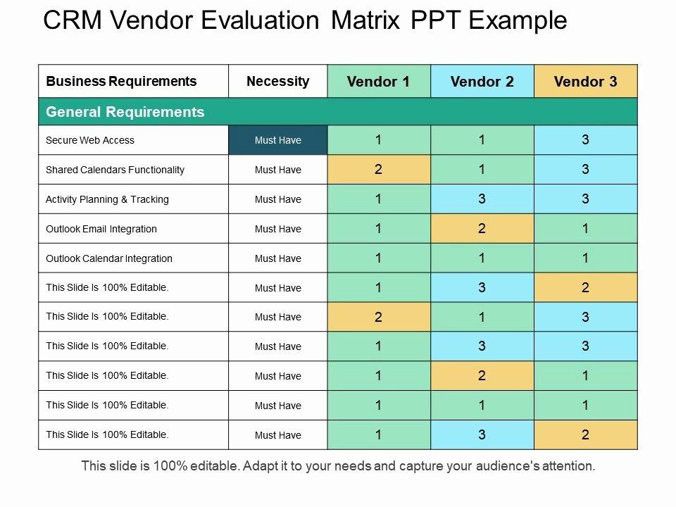 Vendor Comparison Template Lovely Crm Vendor Evaluation Matrix Ppt Example