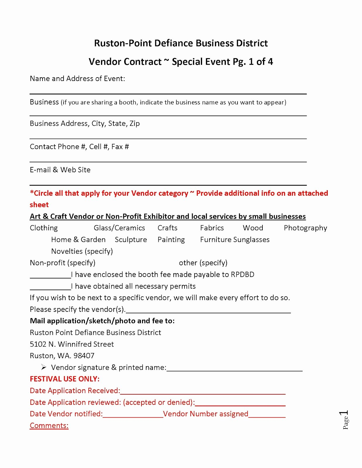 Vendor Contract for event Awesome Ruston Family Fair Vendor Contract