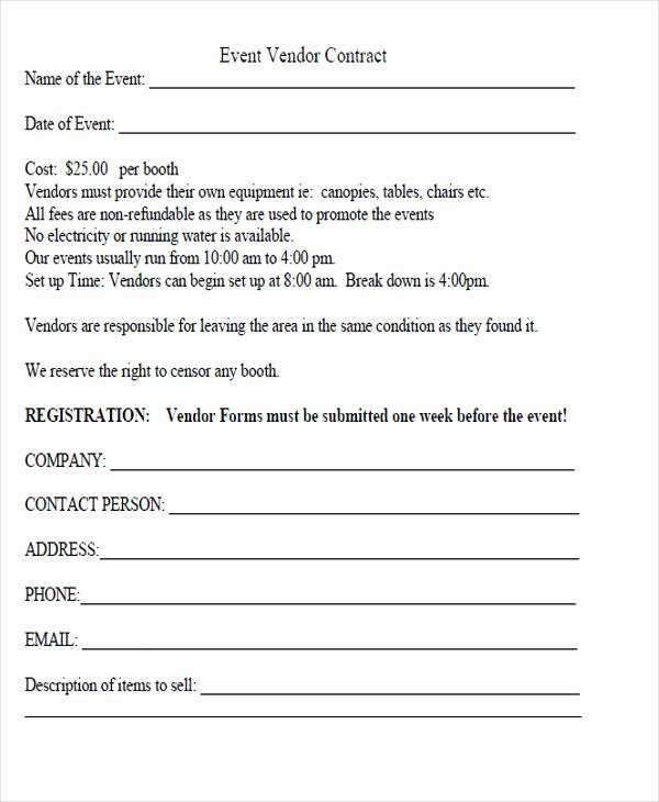 Vendor Contract for event Beautiful 44 Agreement form Examples