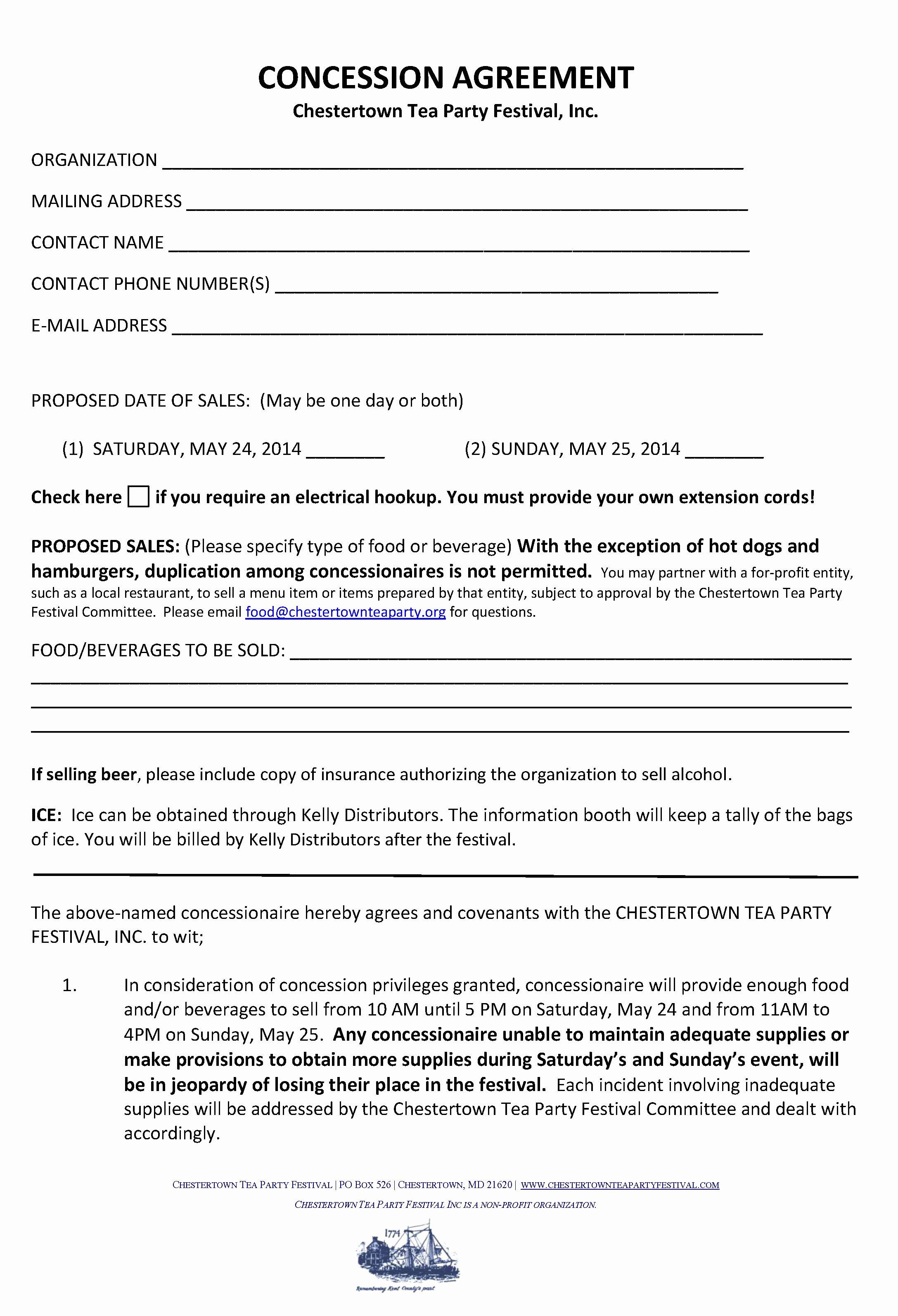 Vendor Contract for event Beautiful Food Vendors