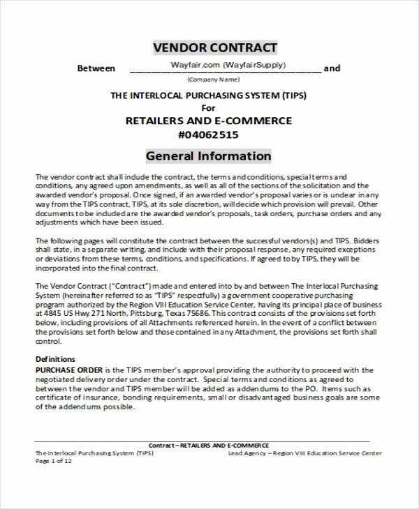 Vendor Contract for event Best Of 5 Vendor Contract Templates Word Pdf