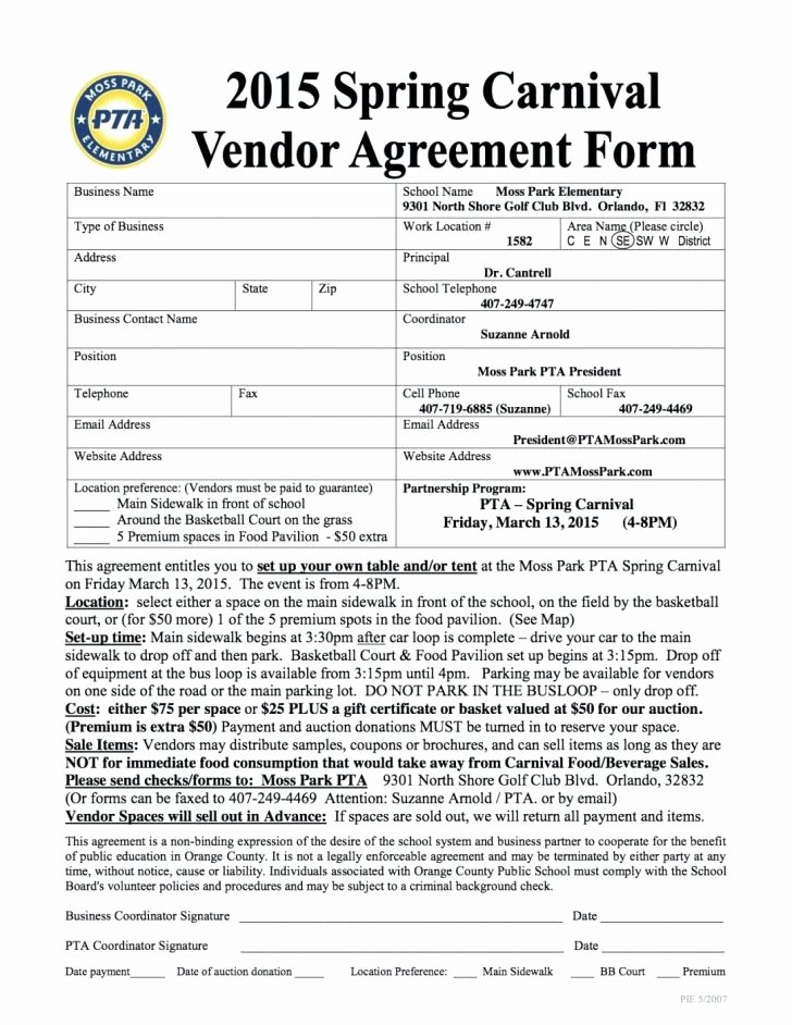 Vendor Contract for event Fresh Sample Vendor Contract Agreement Contracts Simple form