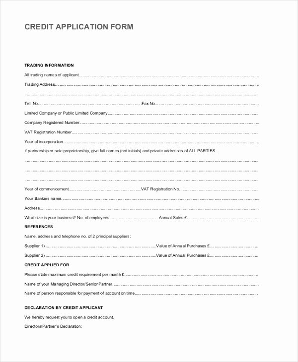 Vendor Credit Application Awesome 8 Sample Vendor Application forms Sample Example format