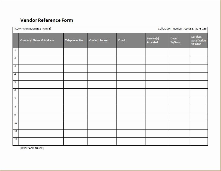 Vendor Credit Application Template Awesome Vendor Reference form Template for Word