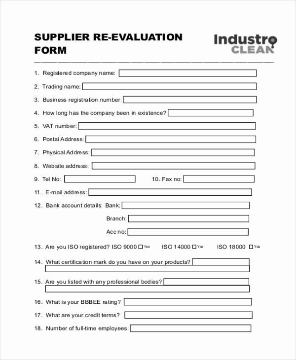 Vendor Evaluation form Lovely 8 Vendor Evaluation form Samples Free Sample Example