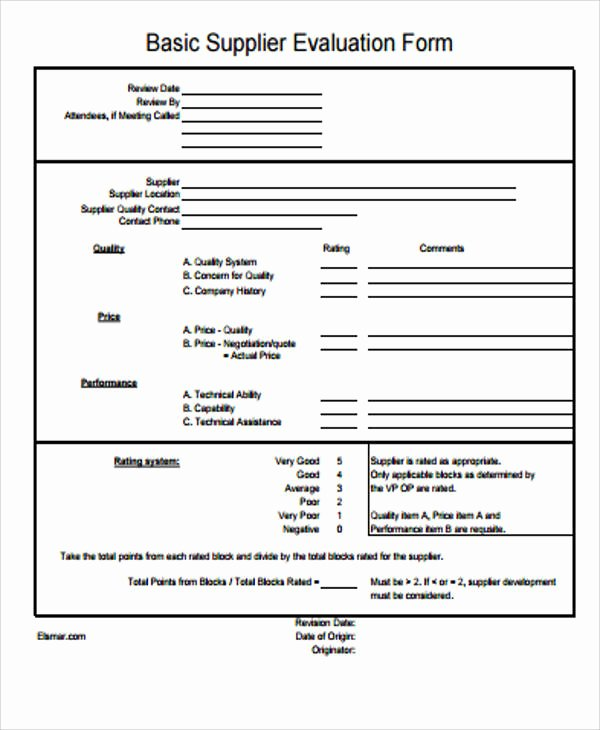 Vendor Evaluation form Luxury Sample Supplier Evaluation form 6 Examples In Word Pdf