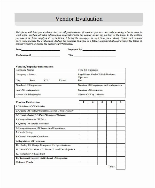 Vendor Evaluation form Luxury Sample Vendor Evaluation forms 9 Free Documents In Word