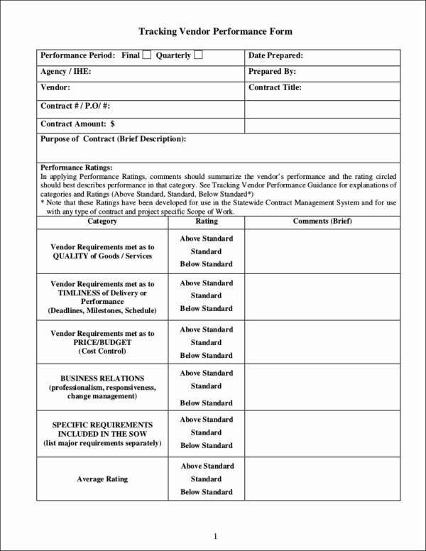 Vendor Evaluation form New 9 Vendor Evaluation form Samples & Templates Pdf