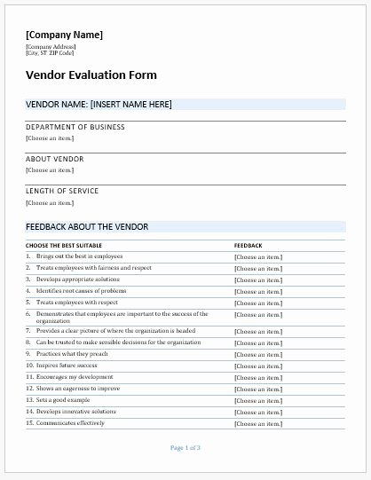Vendor Evaluation form New Vendor Evaluation forms & Templates for Ms Word
