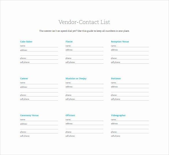 Vendor Information form Elegant 13 Contact List Templates Pdf Word