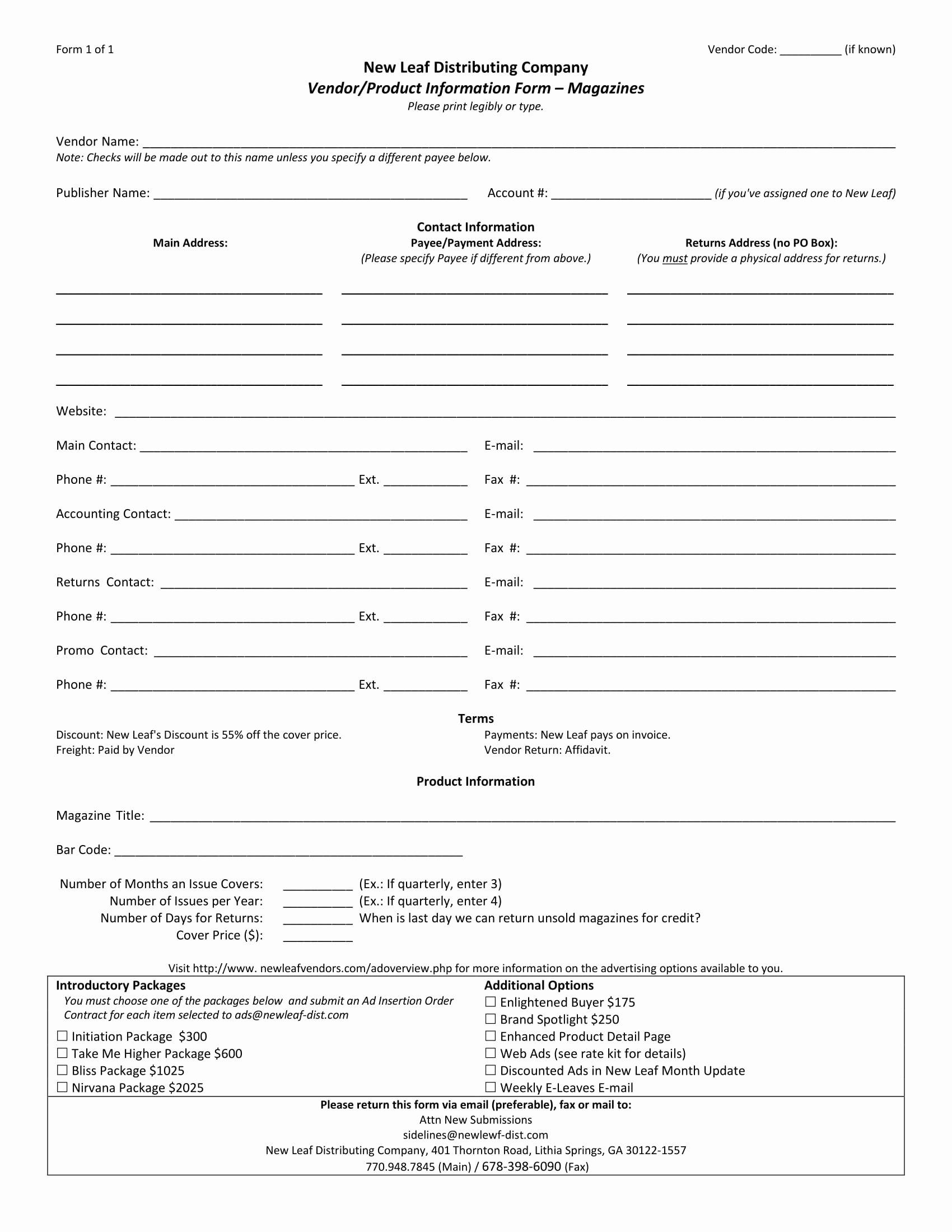 Vendor Information form Elegant 13 Product Information forms Free Word Pdf format