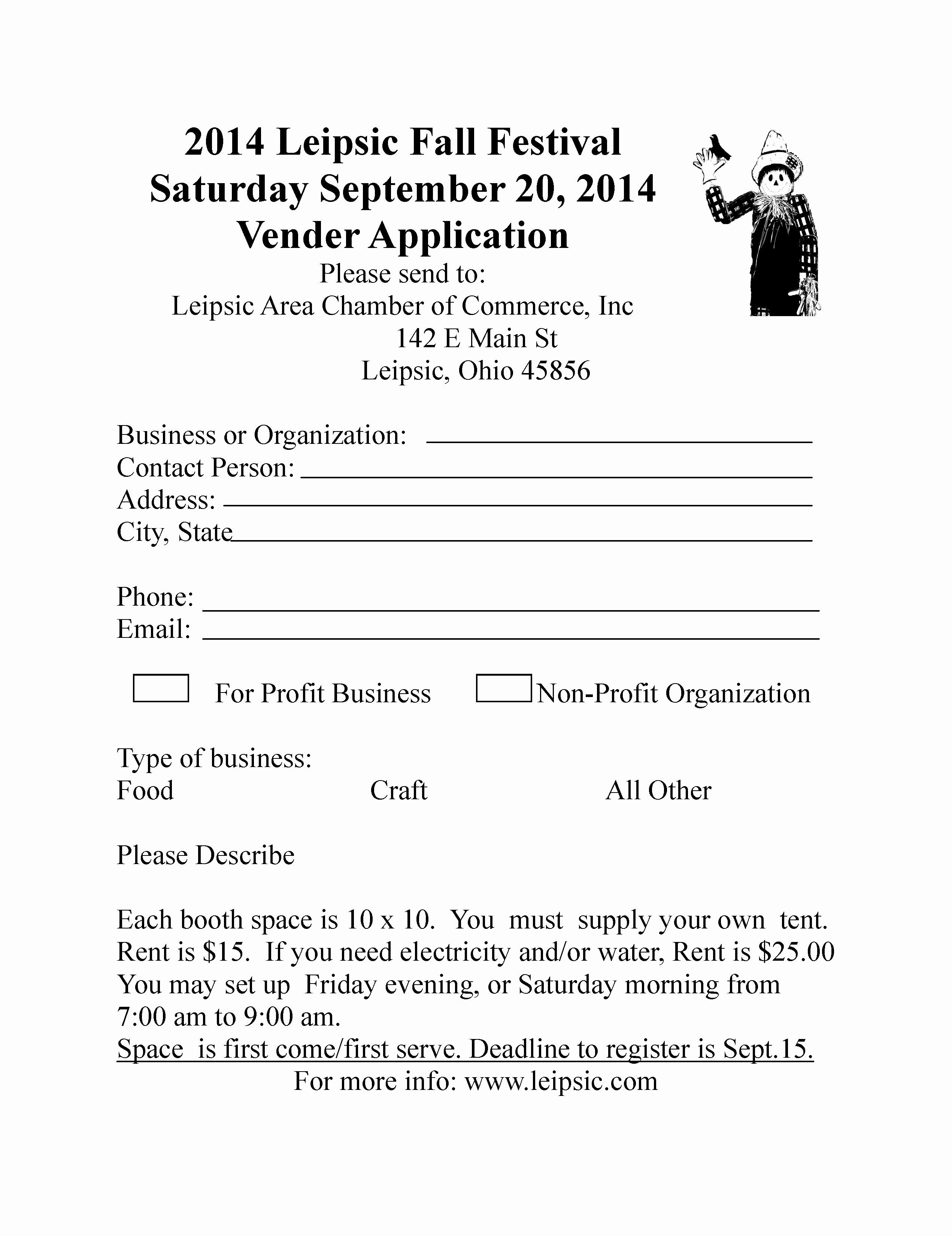 Vendor Information form New Leipsic Fall Festival Information
