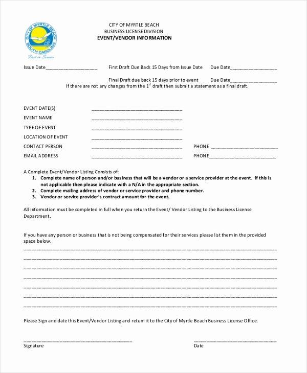 Vendor Information form New Sample Vendor event form 10 Free Documents In Word Pdf