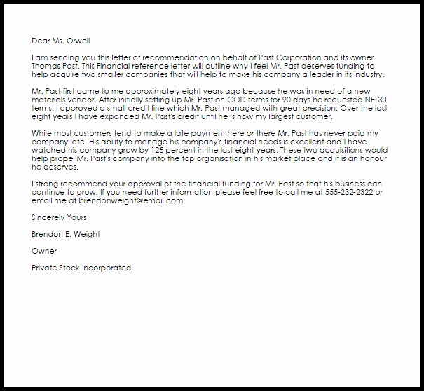 Vendor Recommendation Letter Sample Luxury Financial Reference Letter Example