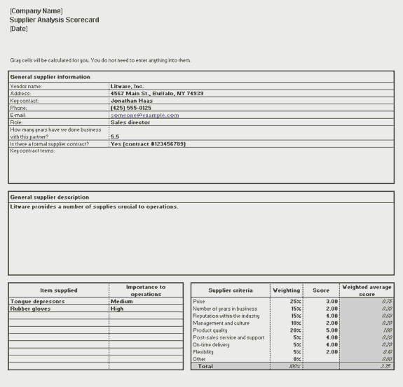 Vendor Scorecard Template Excel Elegant Download Supplier Analysis Scorecard
