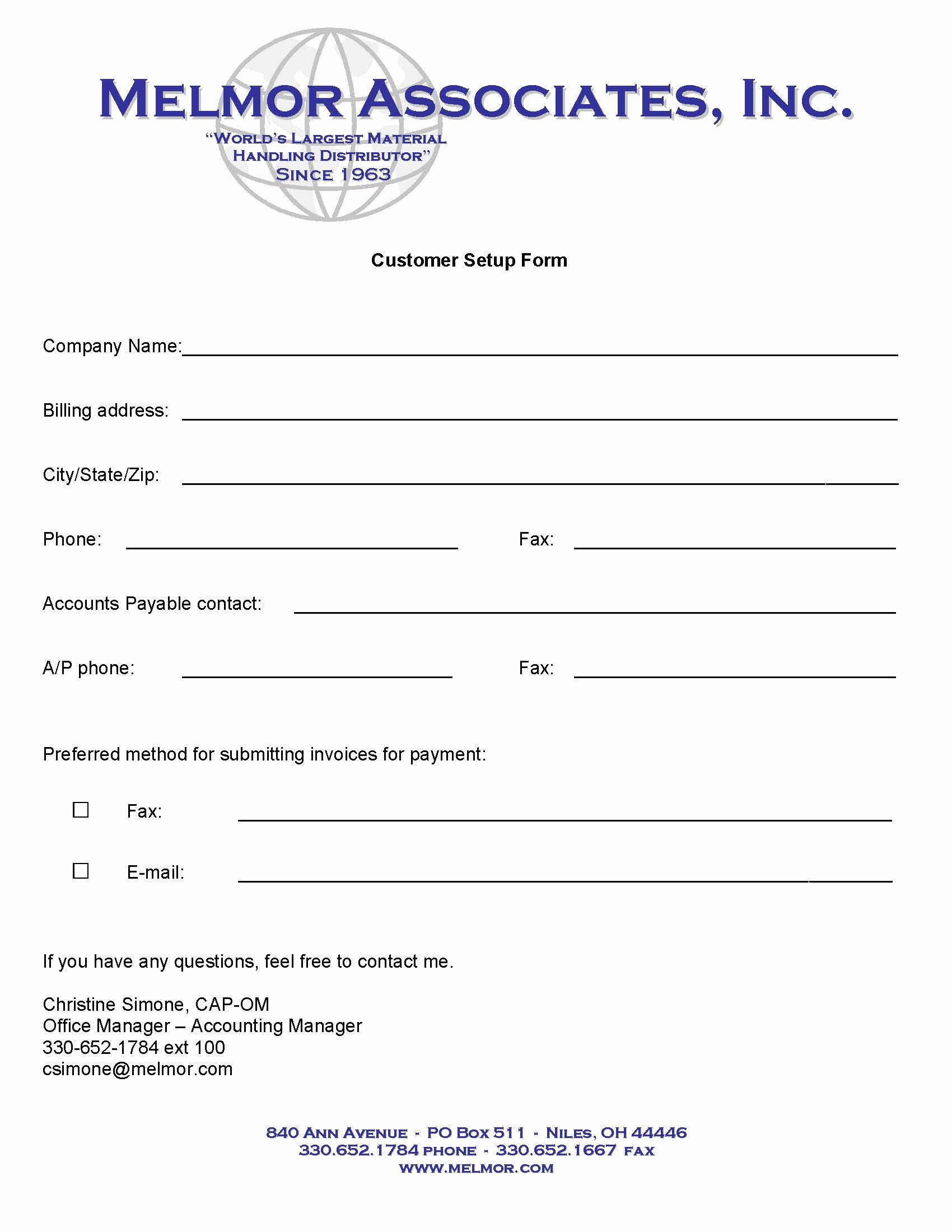 Vendor Setup form Template Fresh New Accounts Melmor associates Inc