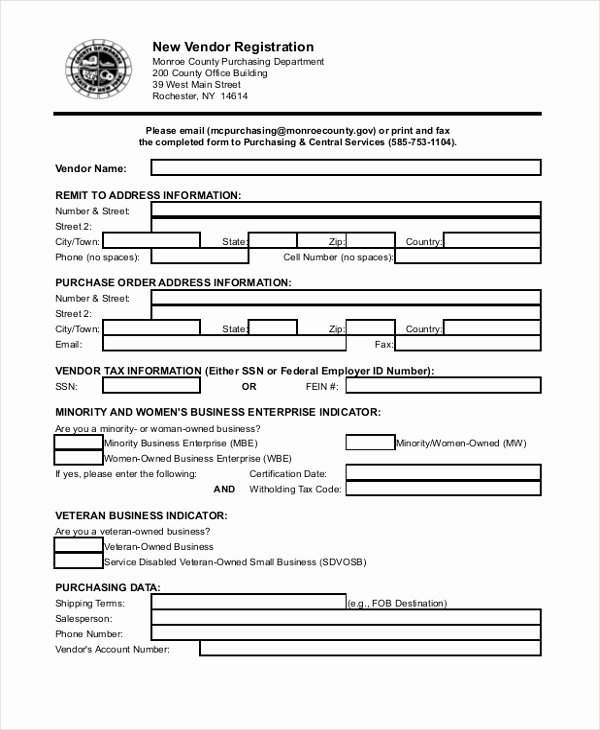 Vendor Setup form Template Luxury 8 Sample Vendor Application forms Sample Example format