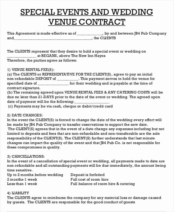 Venue Rental Agreement Template Elegant Catering Contract Sample