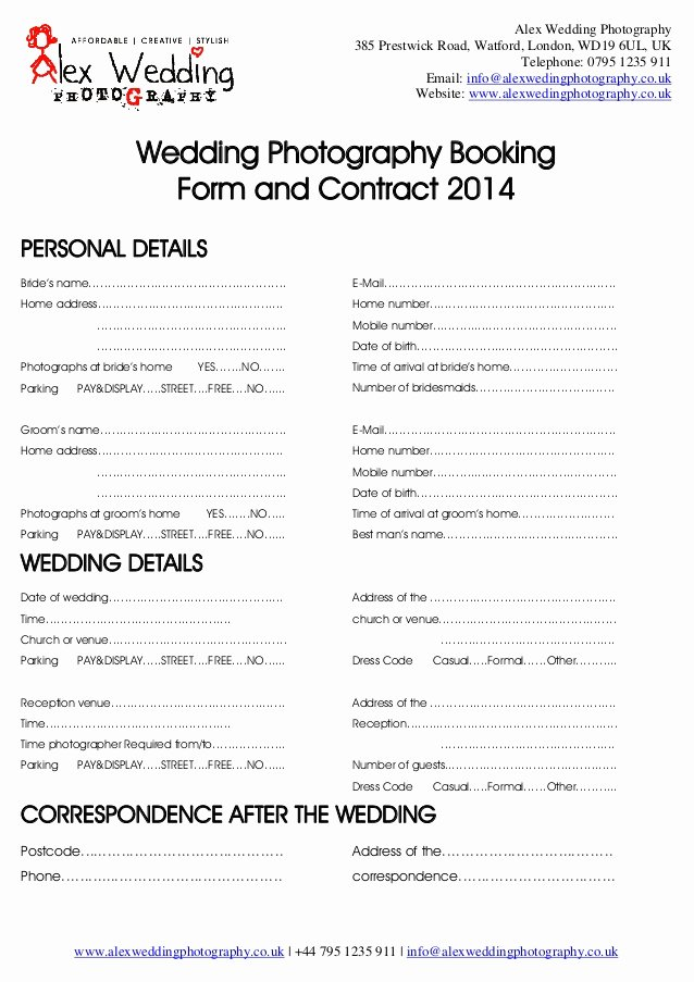 Venue Rental Agreement Template Elegant Wedding Graphy Booking form and Contract 2014