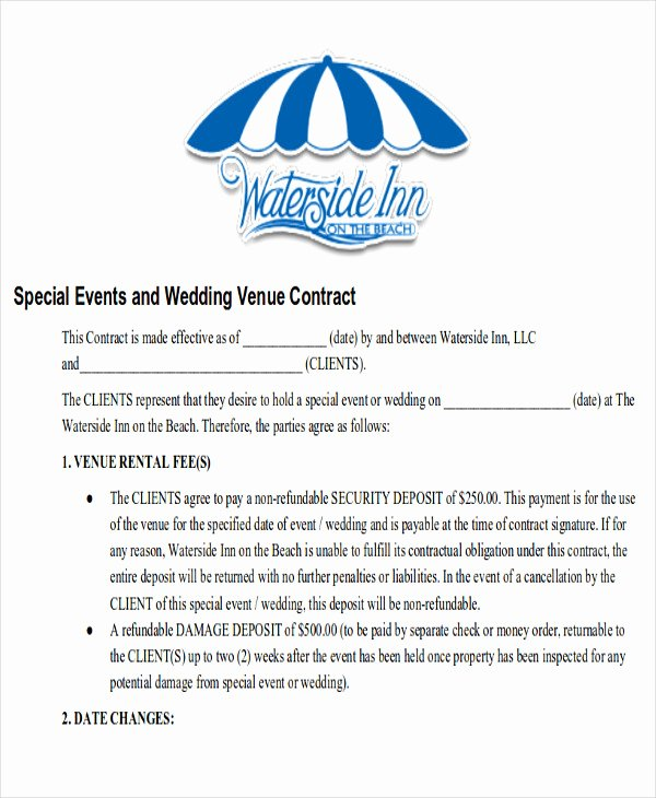 Venue Rental Agreement Template Unique Sample Wedding Contract Agreements 9 Examples In Word Pdf