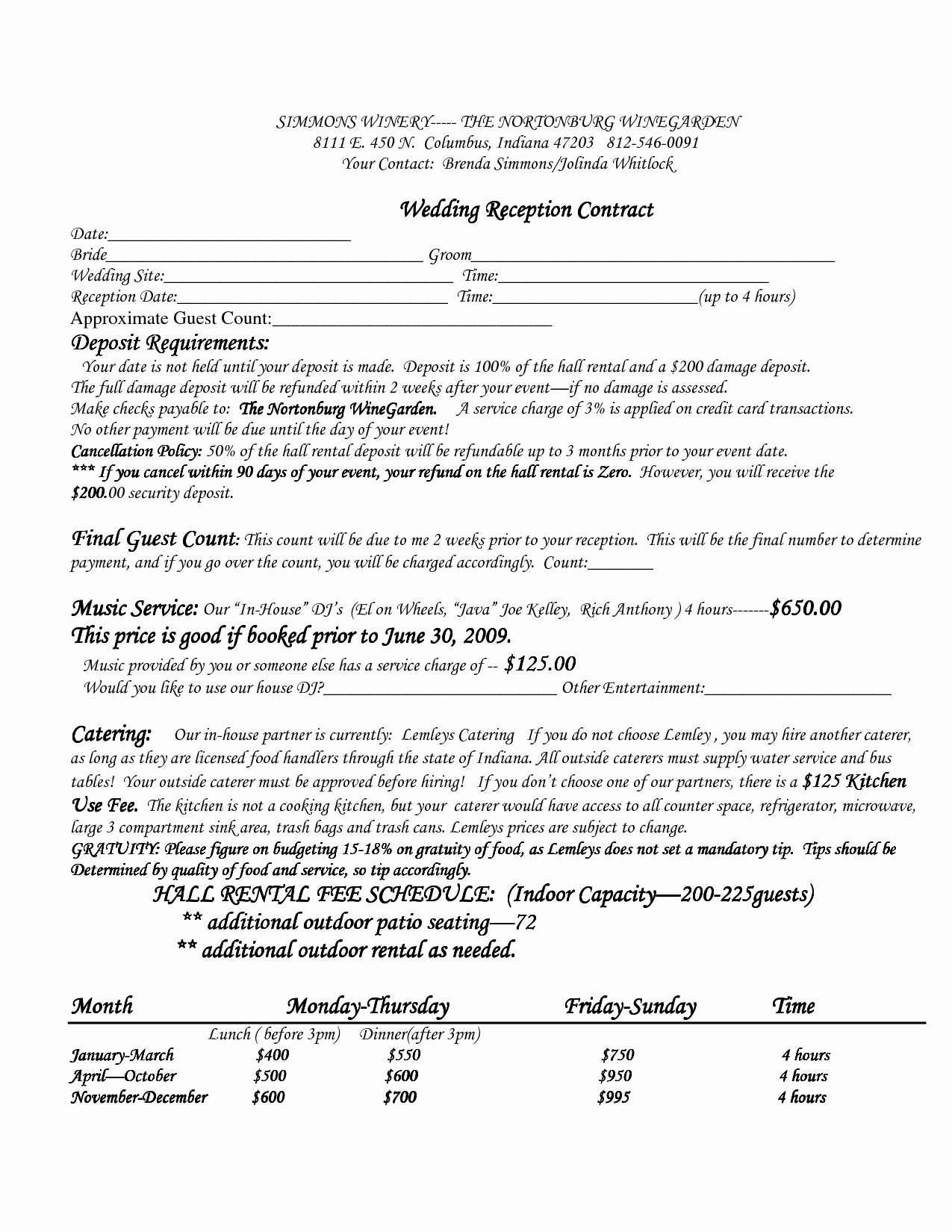Venue Rental Agreement Template Unique Wedding Venue Contract Template – Emmamcintyrephotography