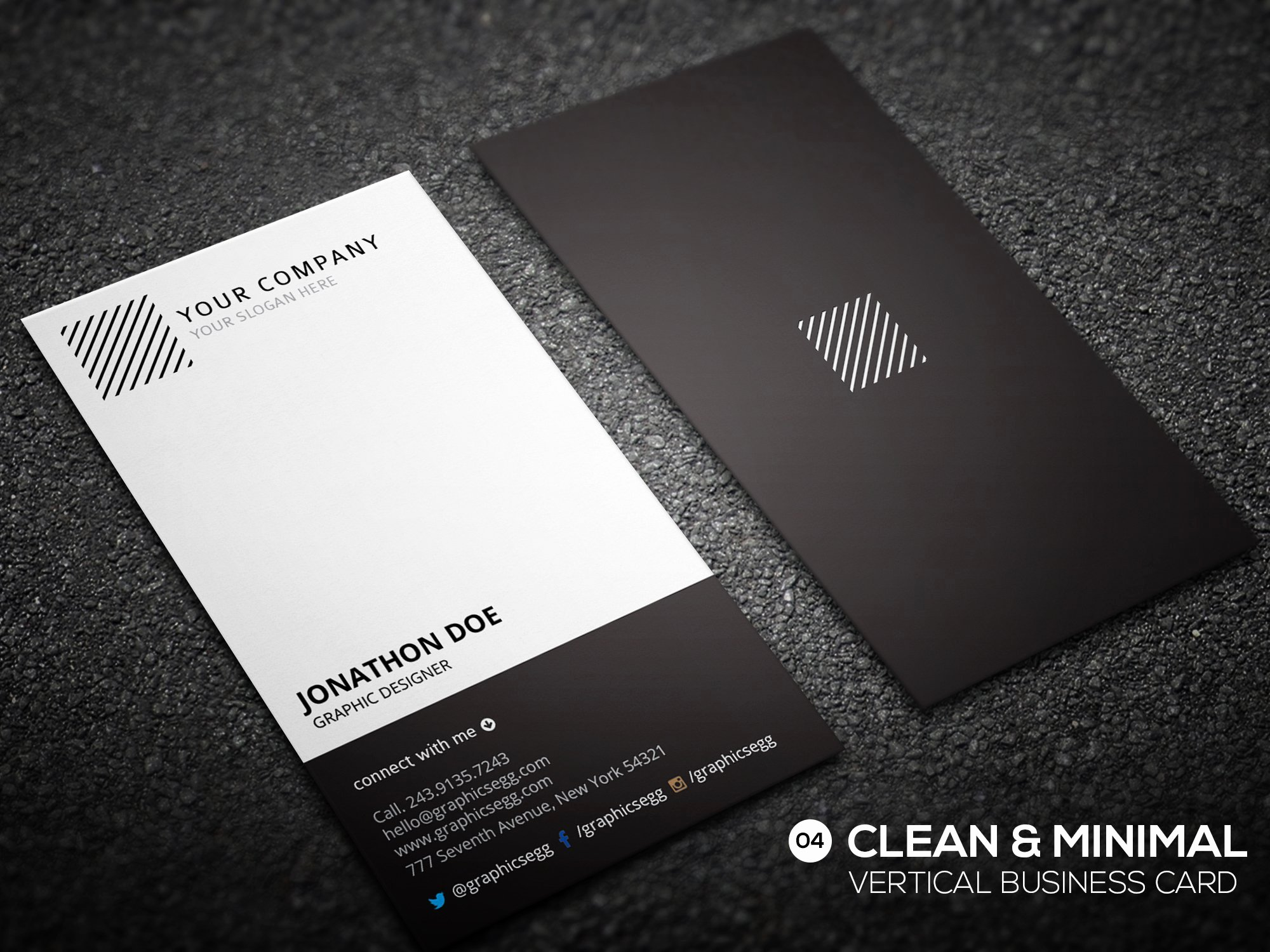 Vertical Postcard Layout Awesome Clean Minimal Vertical Business Card Business Card