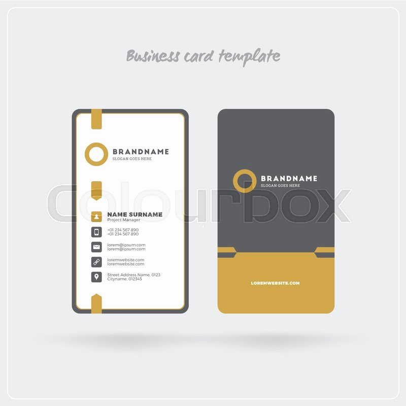 Vertical Postcard Layout Awesome Golden and Gray Vertical Business Card Print Template
