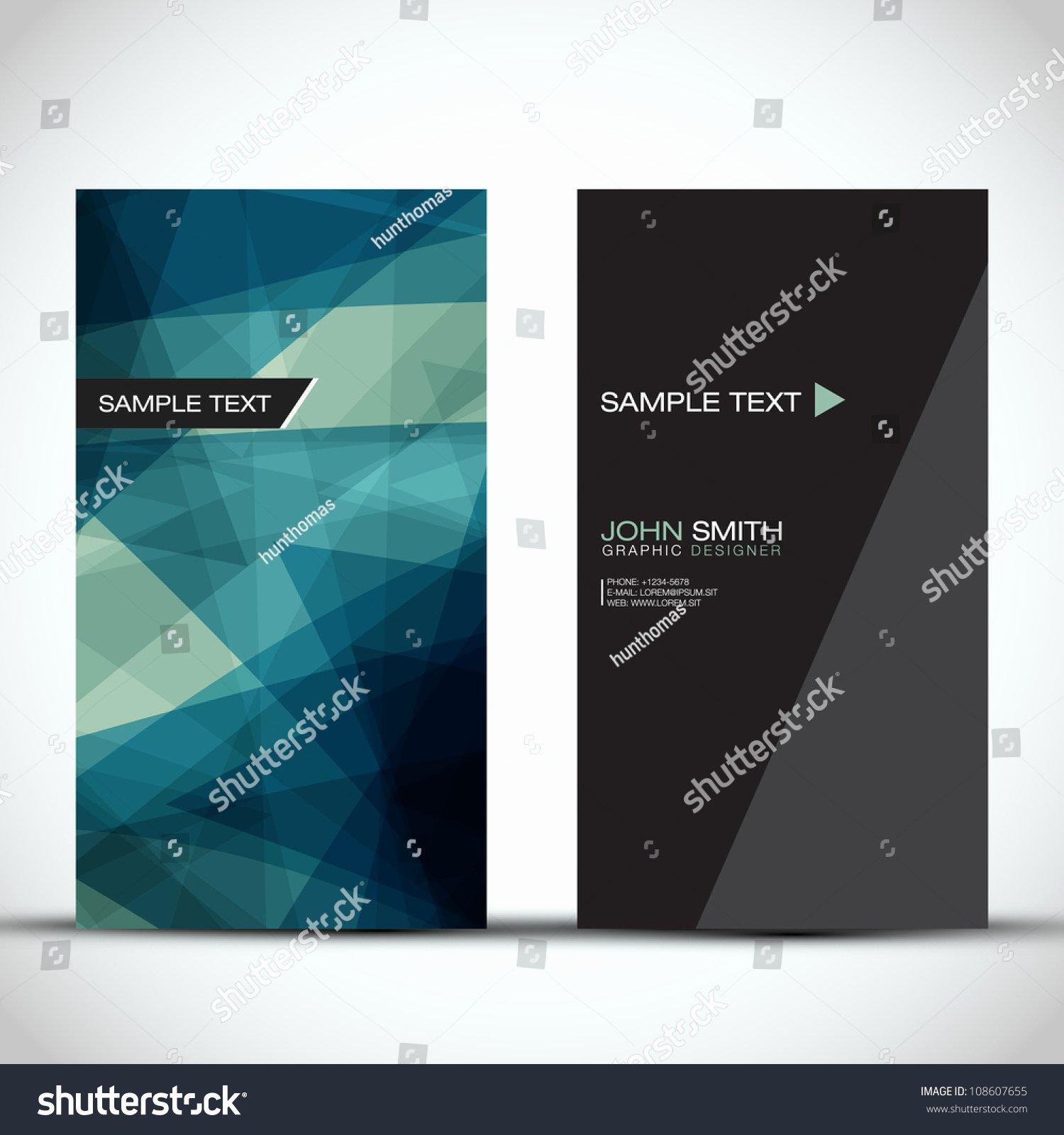 Vertical Postcard Layout Beautiful Blue Modern Vertical Business Card Set