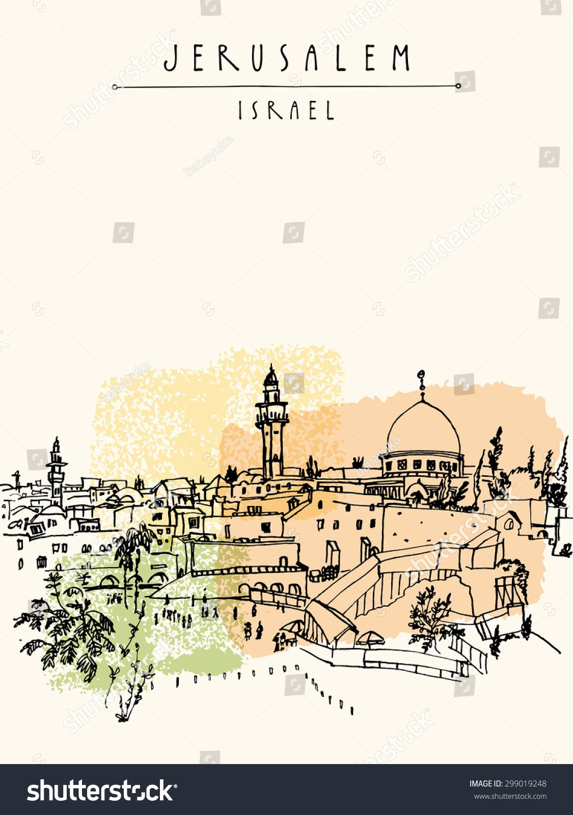 Vertical Postcard Layout Fresh Wailing Wall In Jerusalem israel Handmade Vector Drawing