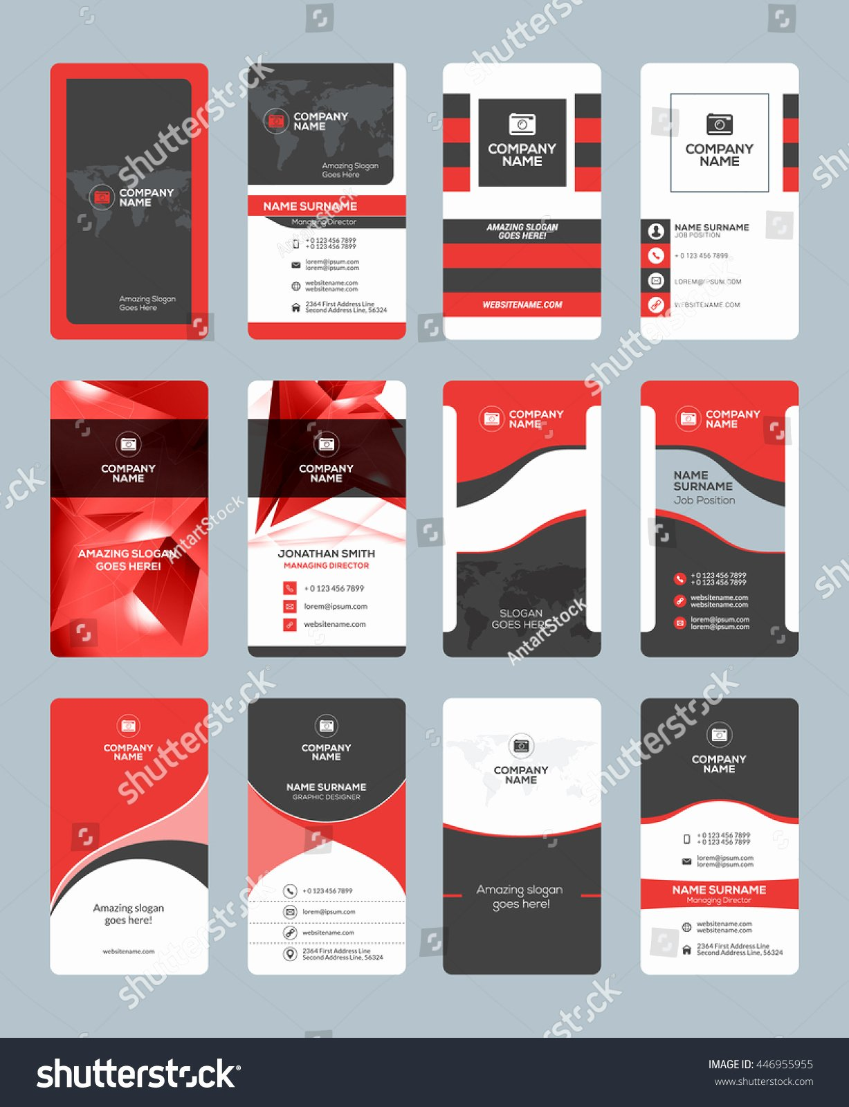 Vertical Postcard Layout Lovely Business Card Templates Stationery Design Vector Stock