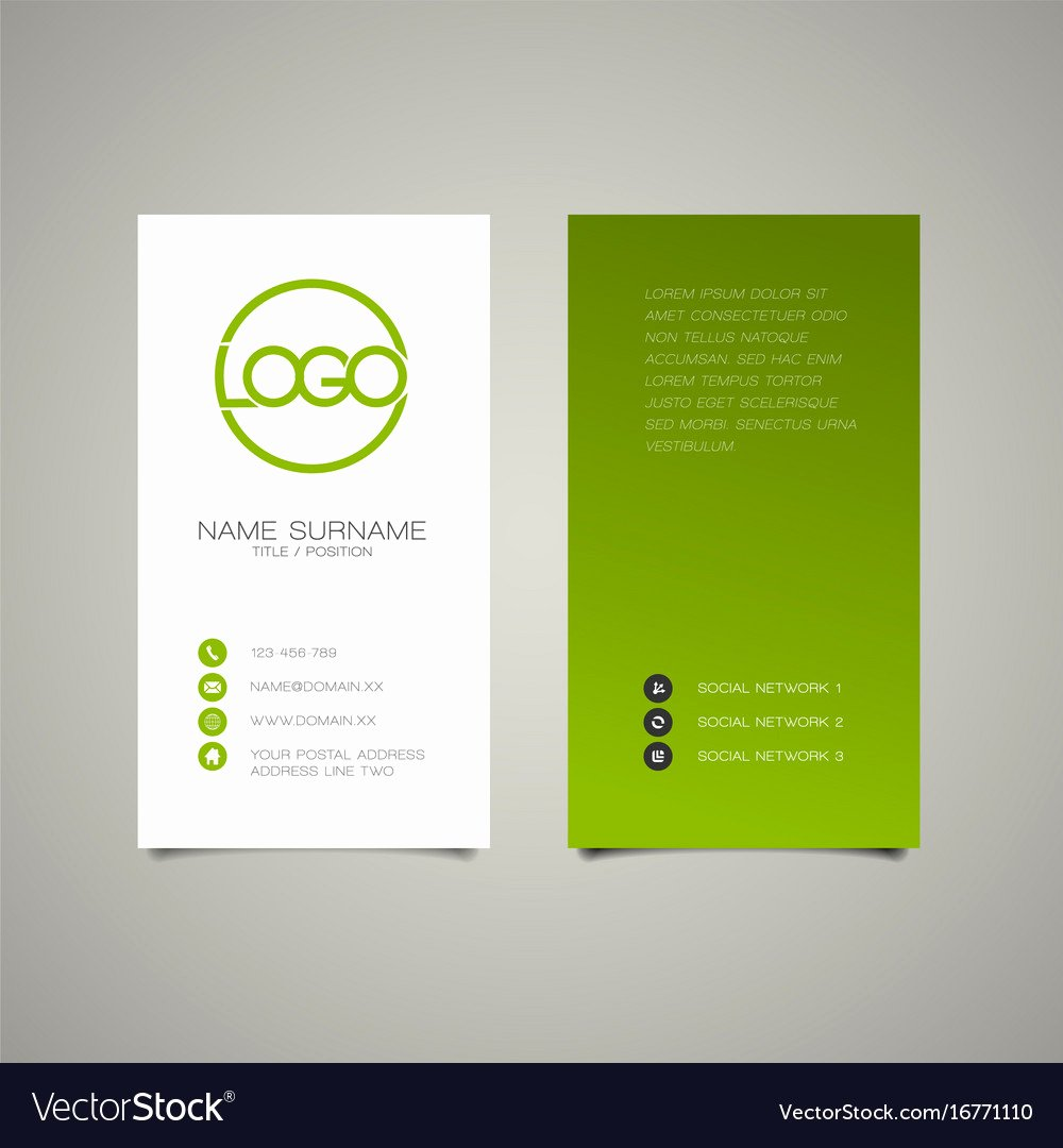 Vertical Postcard Layout Luxury Modern Simple Vertical Business Card Template Vector Image
