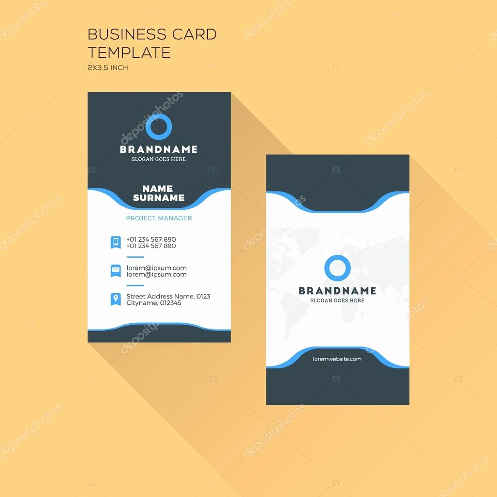 Vertical Postcard Template Beautiful Vertical Business Card Print Template Personal Business