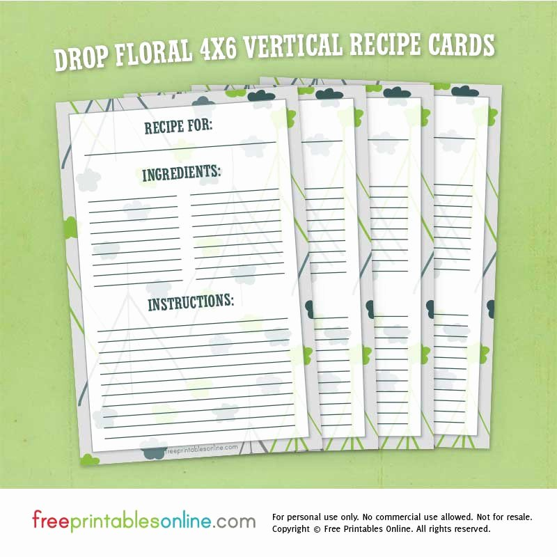 Vertical Postcard Template Fresh Drop Floral 4x6 Vertical Recipe Cards Free Printables Line